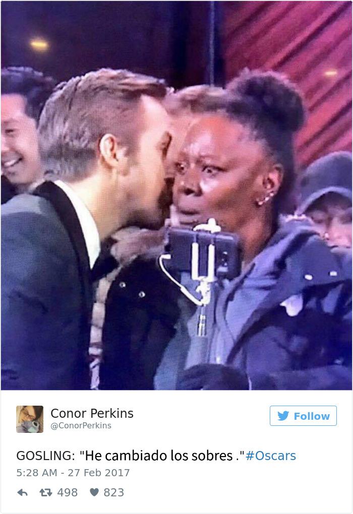 Ryan Gosling susurrando durante los Oscars se convierte en un divertido meme