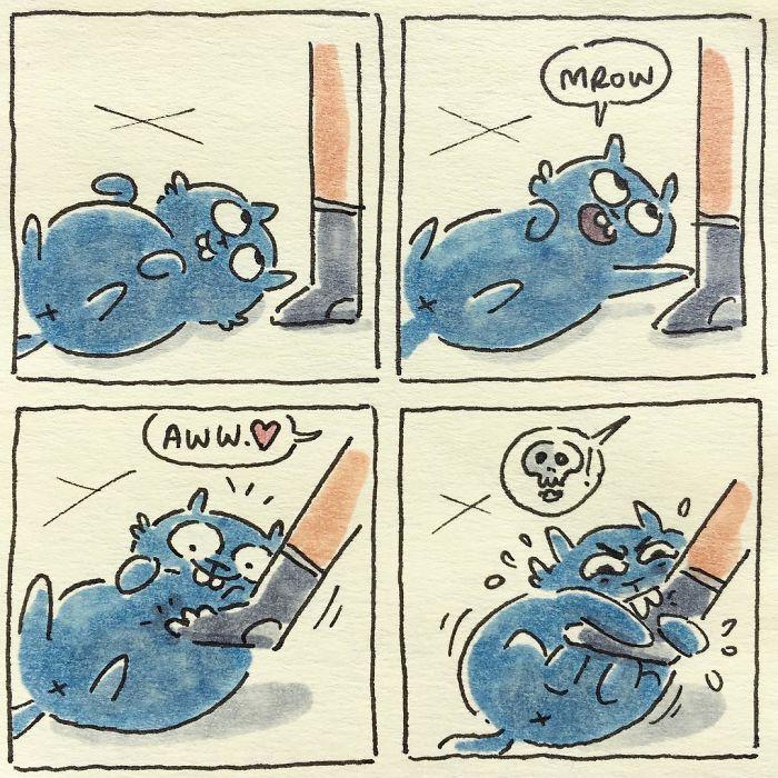Dibujo lo que es vivir con mis gatos