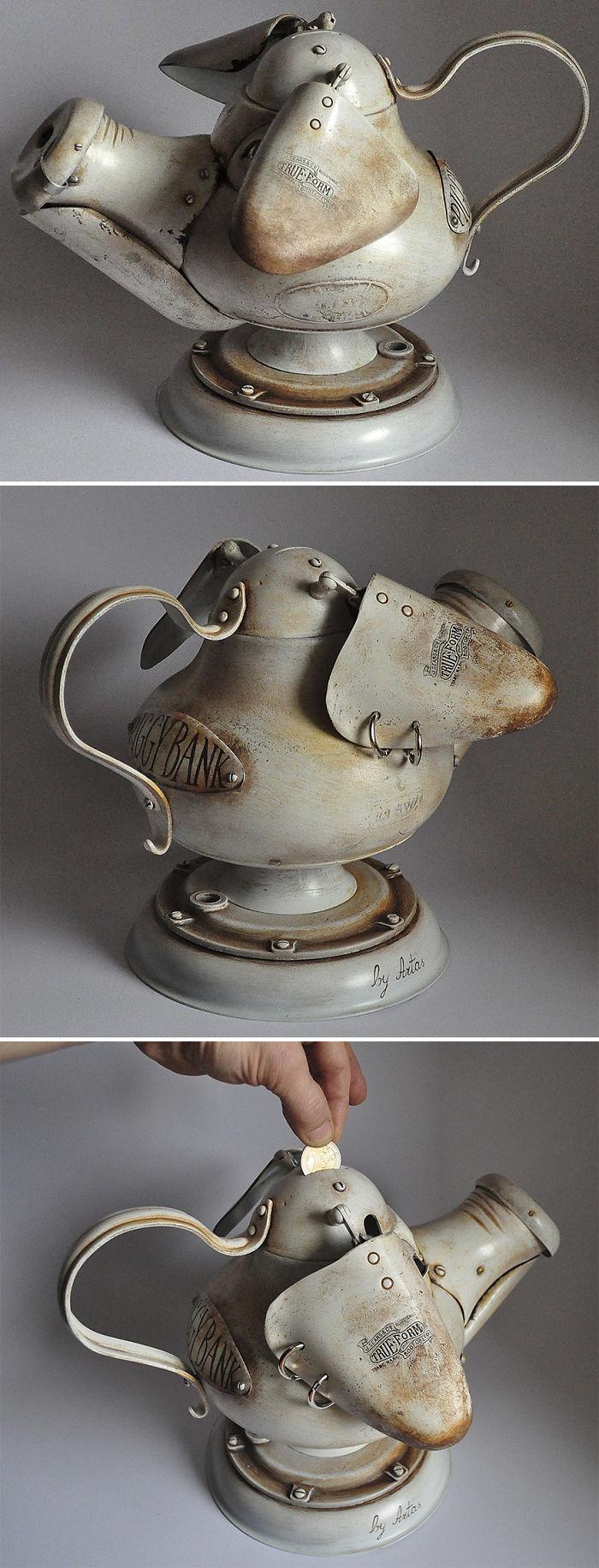 Creo esculturas steampunk a partir de basura