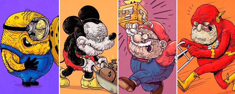 Así lucirían estos superhéroes y personajes de caricaturas si envejecieran